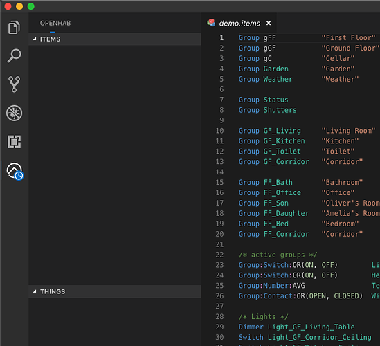 Items/Things Trees not visible in VS Code EXPLORER side bar with OH