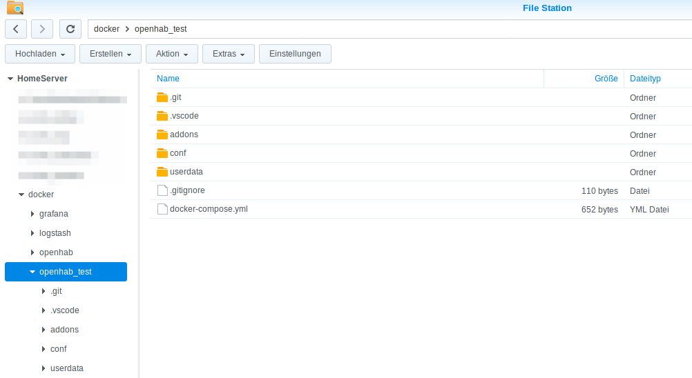 Docker install on Synology : how to create use with no home and no