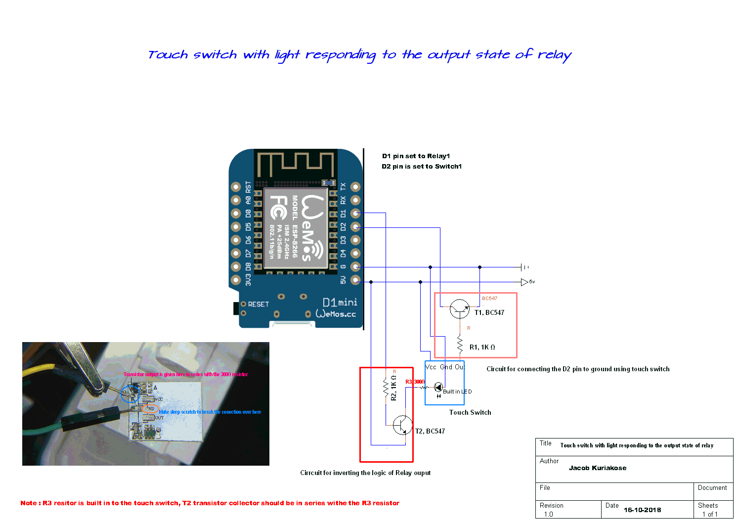 Touch switch with led, responding to the output state of relay